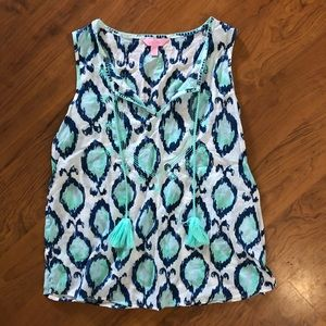 Lilly pulitzer teal, blue, & white fish tassel top